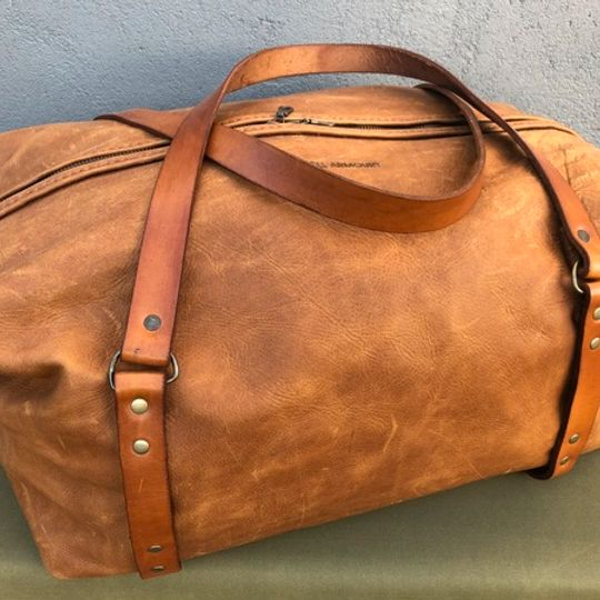 Leather Duffle Traveller Bag – Tan