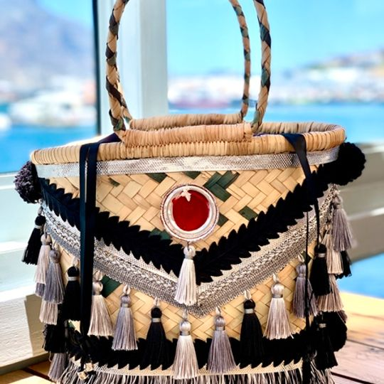 Gootchi Basket Tote Handbag/Black, Silver & Platinum
