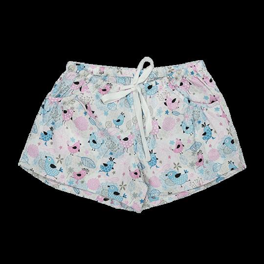 Girls Short Pants - Pockets Birds
