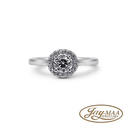 Sterling Silver Cubic Zirconia Ring - Petite Halo