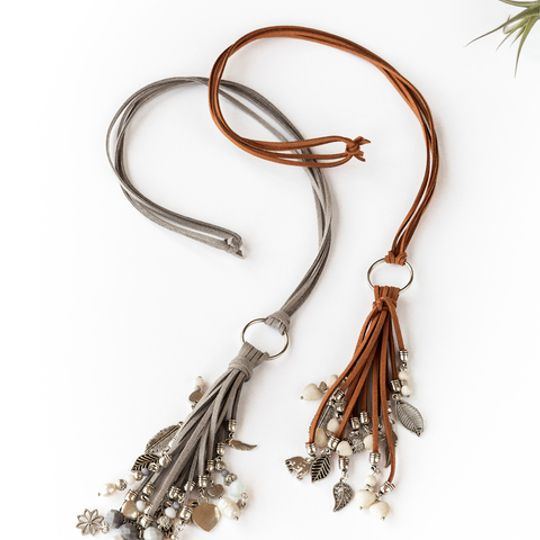 Long Tassel Necklace - Greys & Creams