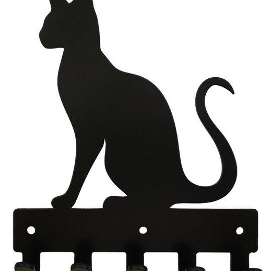 Siamese Cat Key Rack & Leash Hanger - 5 Hooks - Black