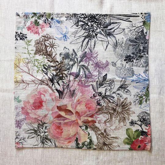 Set of 2 Summer Floral Linen Serviettes