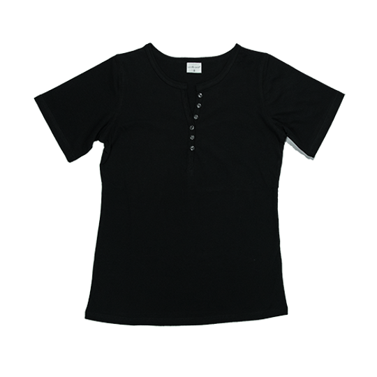 Ladies Short Sleeve - Buttons Black