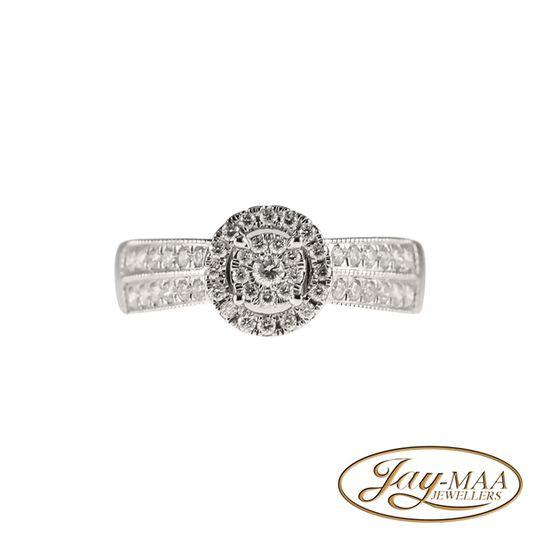 9ct White Gold Diamond Pave Halo Ring