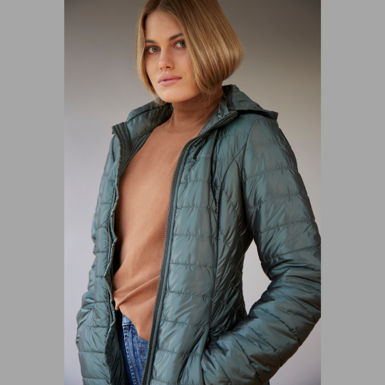Women's long wool filled jacket with removable hood in Bright Sage