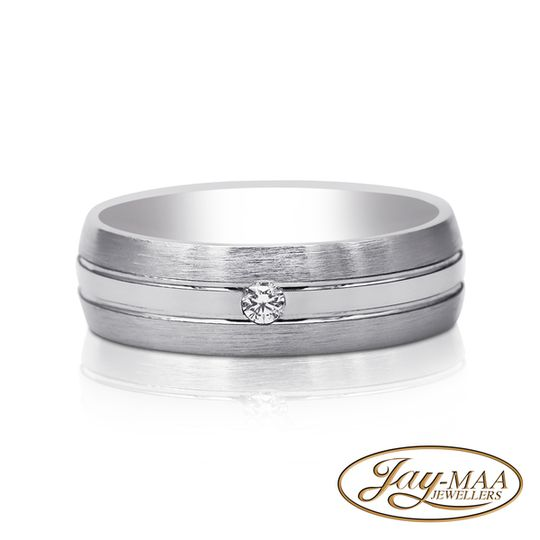 Sterling Silver Cubic Zirconia Band - Single Stone