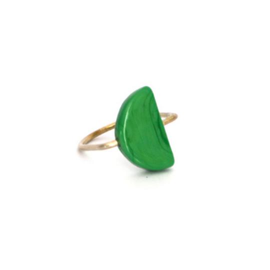 Glass Semicircle U-Shape Ring