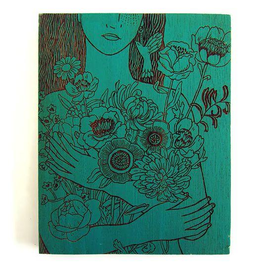Woodblock Art - Holding Love - Sea Green or Mustard