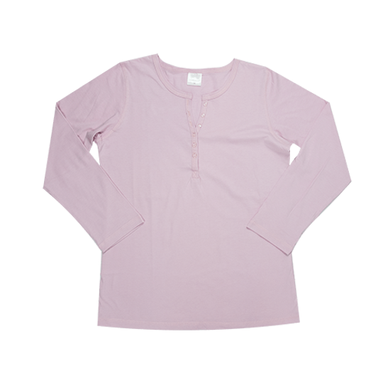 Ladies Long Sleeve - Buttons Pink