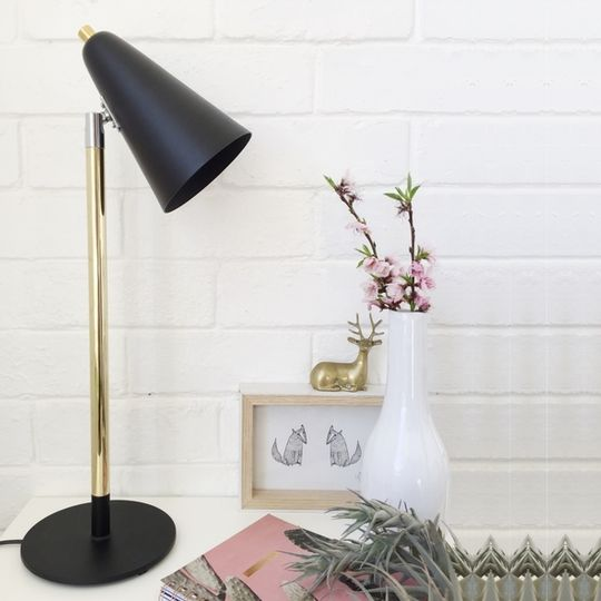 Black and Brass swivel lamp