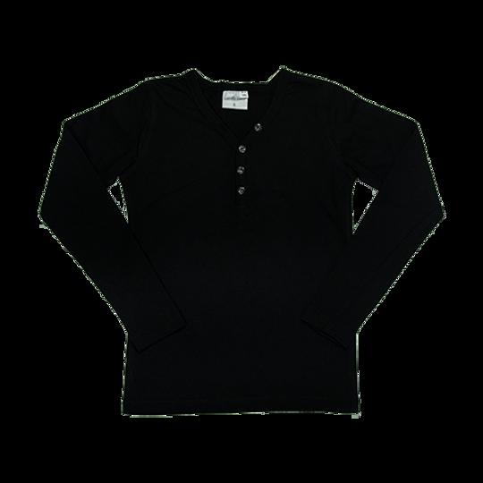 Kids Long Sleeve Top - Buttons Black