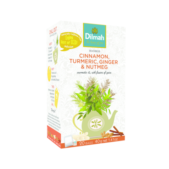 Dilmah Red Rooibos with Cinnamon, Turmeric, Ginger & Nutmeg (20 x 2g tagged tea bags)
