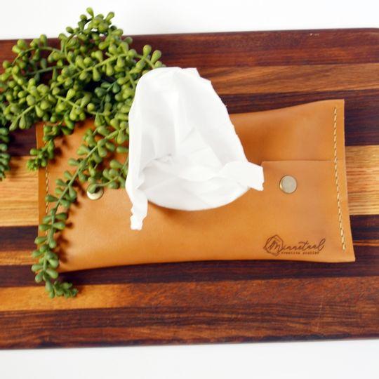 Pop-up Leather Tissue Holder