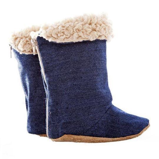 Boot / Unisex - Denim and Beige Sheepskin - M0110