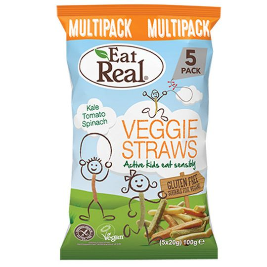 Eat Real Kids Veggie Straws Multipack pack 100g