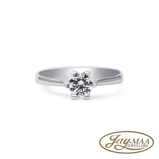 9ct White Gold Cubic Zirconia Solitaire Ring - 5mm