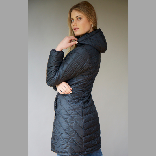 Women's Long wool filled jacket with removable hood in black