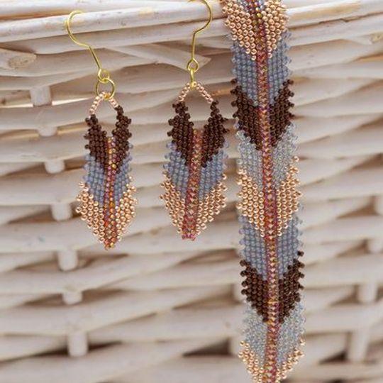 Handmade gold, brown, grey arrow peyote stitch earrings & bracelet set