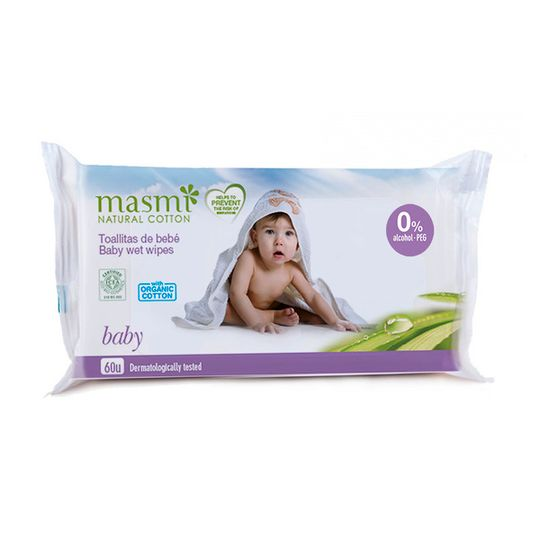 Masmi Organic Cotton Baby Wet Wipes 60s