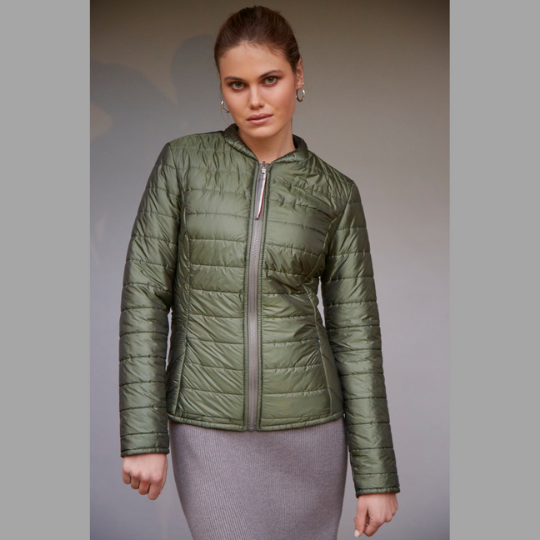 Women's lite wool filled reversible jacket in Olive and grey