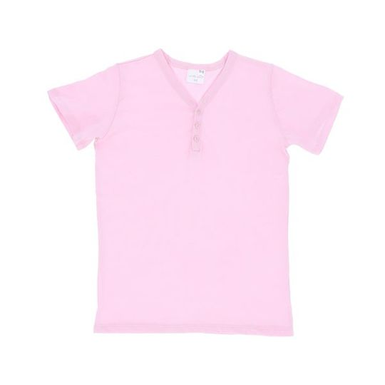 Kids Short Sleeve - Buttons Pink