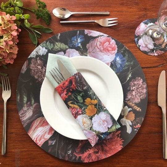 Vintage Combo: 24 Different Doilie placemats, 24 coasters & cutlery bags