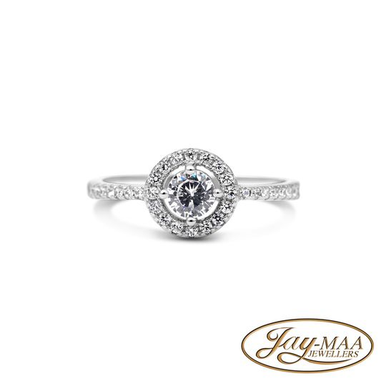 Sterling Silver Cubic Zirconia Ring - Halo