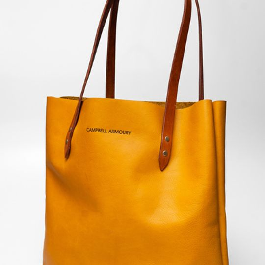 The Leather Totebag - Mustard