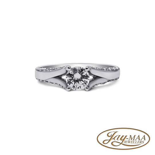 Sterling Silver Cubic Zirconia Ring - Pave Solitaire