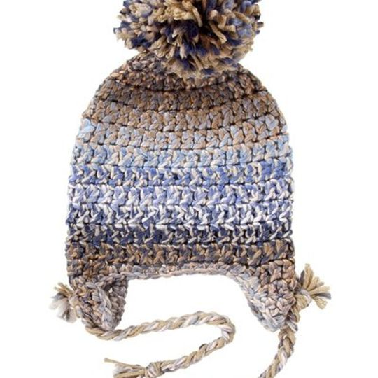 Winter Beanies / Unisex - Blue and Tan - M0263