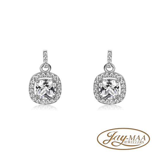 Sterling Silver Drop Cubic Zirconia Earrings