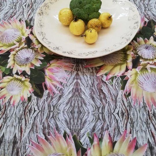 Protea on Bark: Table Cloth / Per Meter