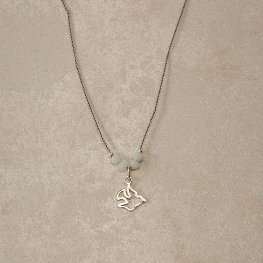 Dove on Silk Necklace
