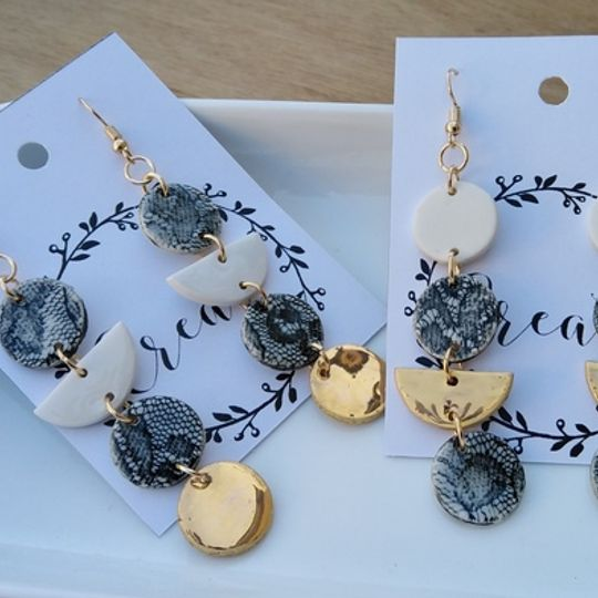 Lace and Gold Dangle Earrings