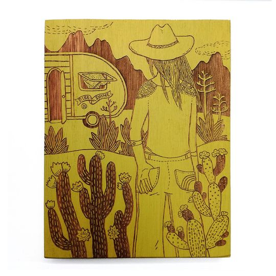 Woodblock Art - Rise 'n Shine - Mustard