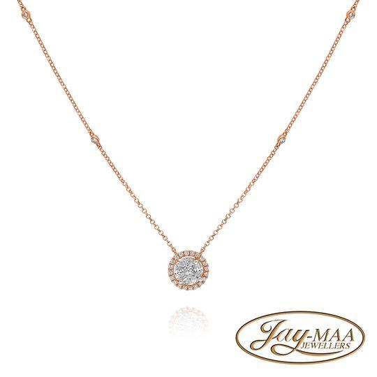 18ct Rose Gold Diamond Necklace with Pendant - Halo Illusion Design