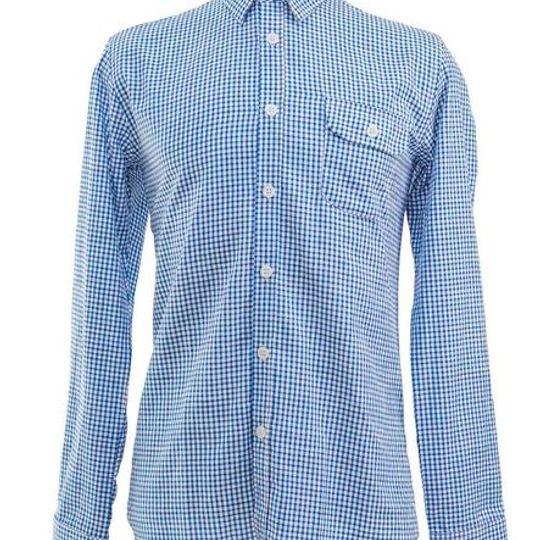 Men's Classic Blue Gingham Check Shirt