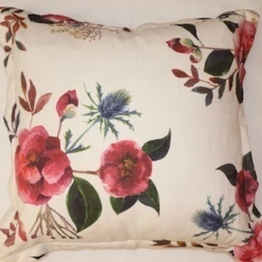 Japonika cushion cover on white linen background
