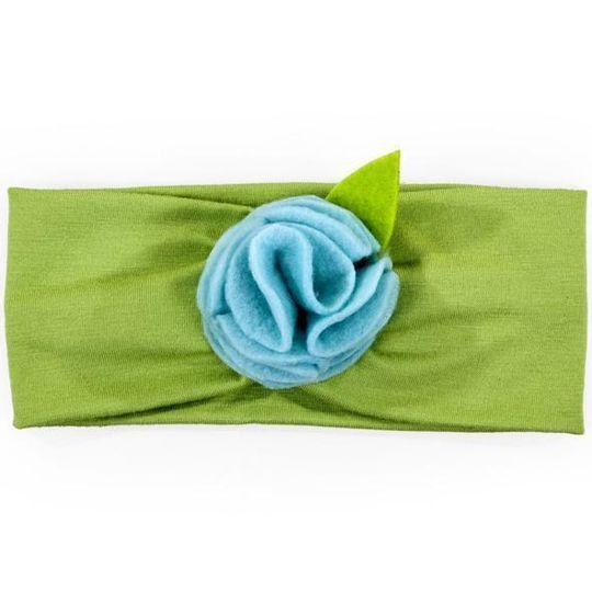 Headband / Girls - Lime with Blue Flower - M0062