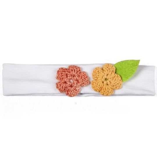 Headband / Girls - White with Coral and Orange Flowers - M0049