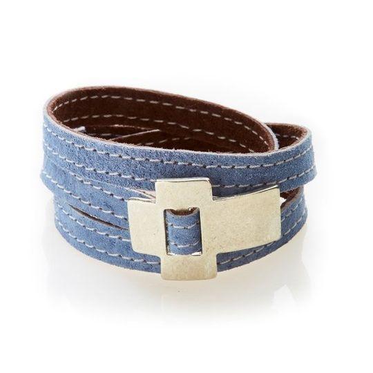 BOLD Reversible suede Bracelet & Choker Cross - Indigo Blue/Coffee