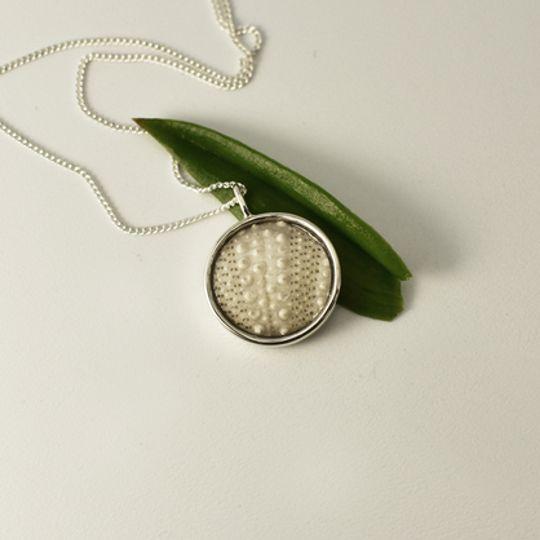Round White Sea Urchin Necklace
