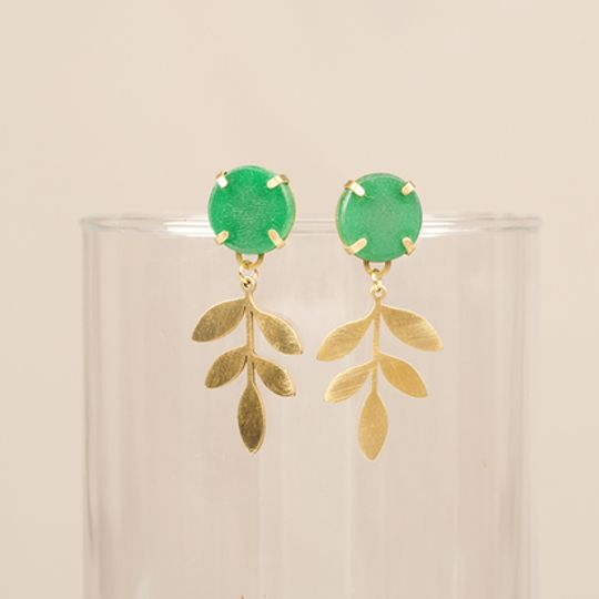 Gemstone Studs with Hanging Leaf