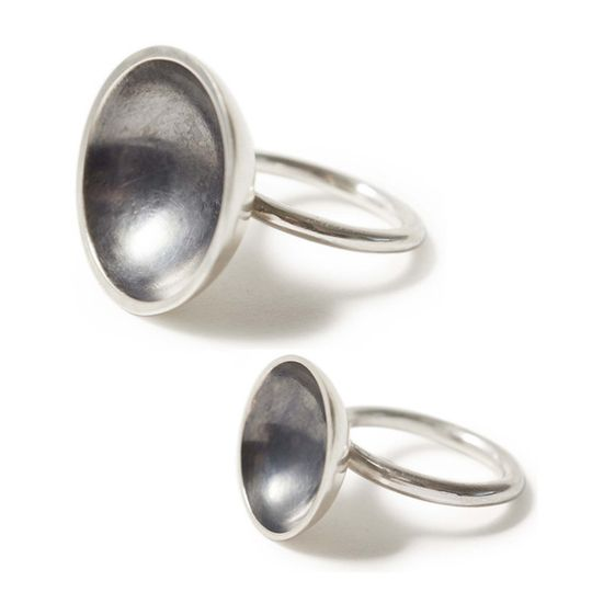 Silver & charcoal bowl domed ring