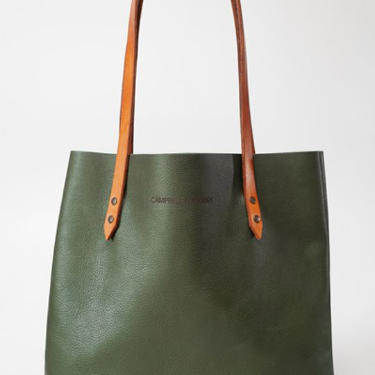 The Leather Totebag - Olive