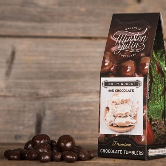 Nutty Nougat tumbled in 56% Chocolate in 150g Box