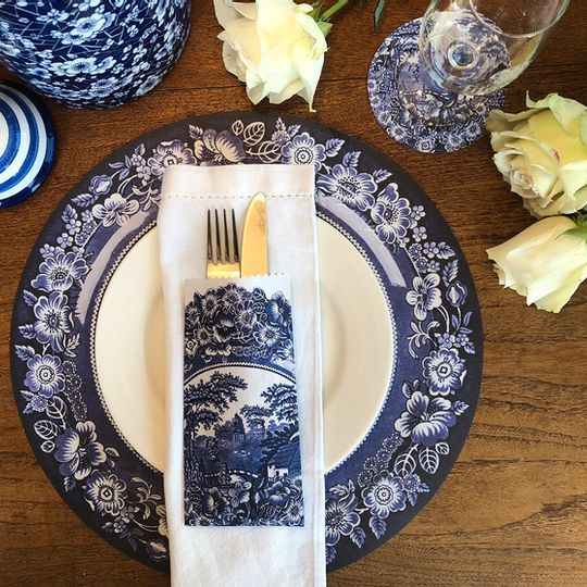 Delft Combo: 24 Different Doilie placemats, 24 coasters & cutlery bags