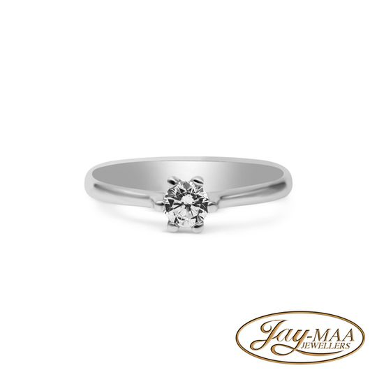 9ct White Gold Cubic Zirconia Solitaire Ring - 4mm