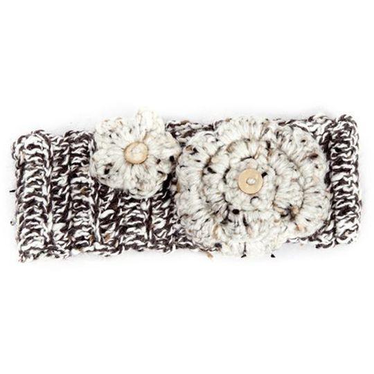 Winter Headband / Girls - Brown Speckled with Flower - M0052